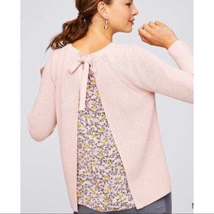 Ann Taylor LOFT | Light Pink Floral Back Sweater